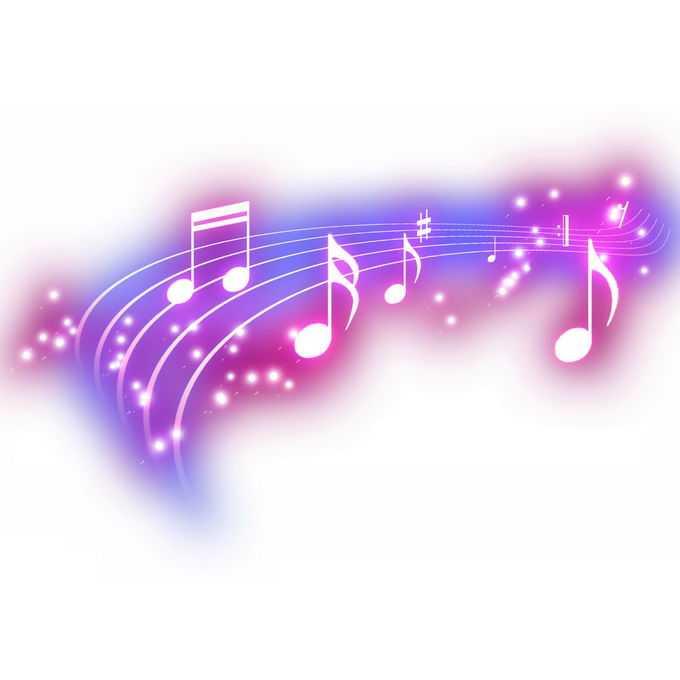 跳动的紫色音乐音符发光绚丽五线谱效果4579969免抠图片素材