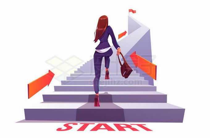拎着包爬楼梯的卡通女人背影象征了人生需要不断的前进攀登1849930矢量图片免抠素材免费下载