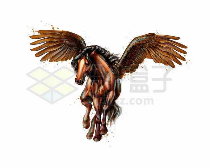 充满力量感的长着翅膀的骏马飞马写实风格水彩插画7128537矢量图片免抠素材免费下载