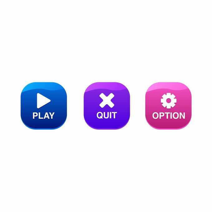 3款蓝色紫色和红色卡通圆角按钮3982607矢量图片免抠素材