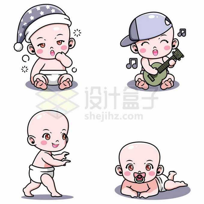 4款卡通宝宝婴儿正在玩耍6748654矢量图片免抠素材