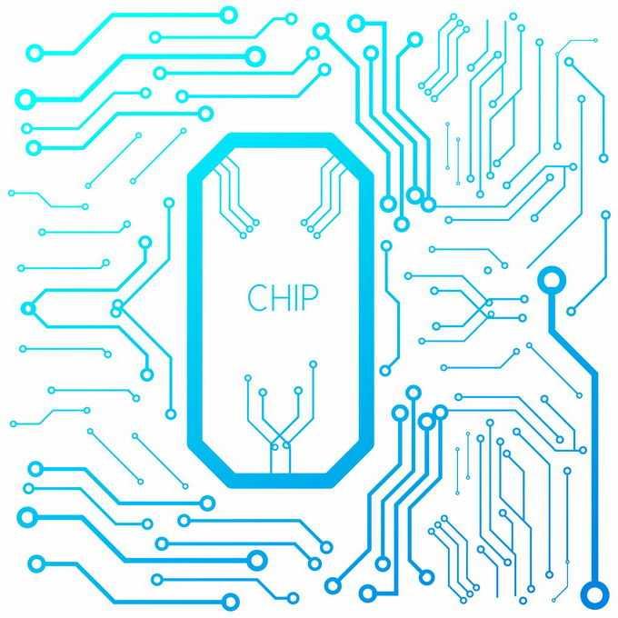 蓝色线条风格电脑电路板电线装饰4207049矢量图片免抠素材免费下载