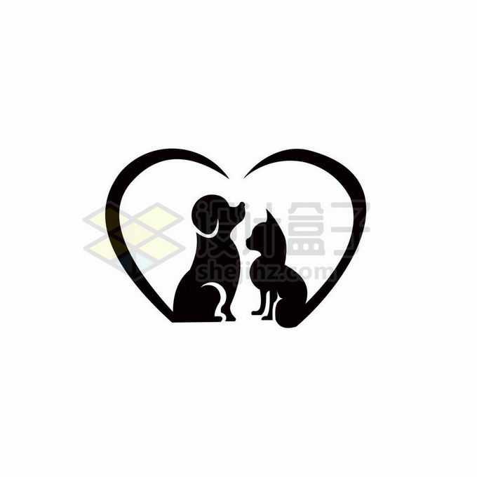 猫咪狗狗剪影组成的心形创意宠物类标志logo设计2410658矢量图片免抠素材