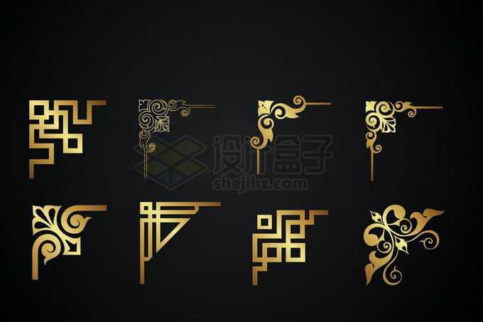 8款金色金属光泽复古直角框架几何形状艺术花纹装饰8790359矢量图片免抠素材免费下载