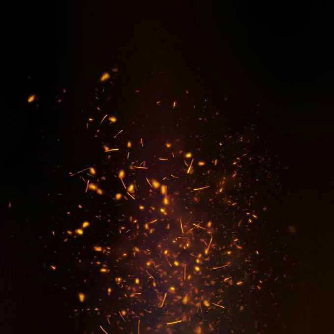 燃烧火焰灰烬中飞舞的火星子火花效果6387568免抠图片素材