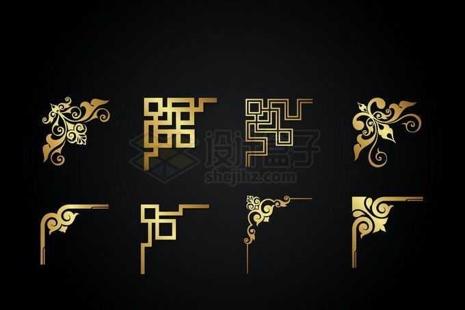 8款金色金属光泽复古直角框架几何形状艺术花纹装饰7193999矢量图片免抠素材免费下载
