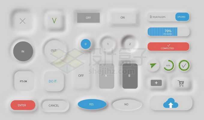 各种3D立体灰色蓝色风格APP软件UI设计控制按钮设计9230691矢量图片免抠素材免费下载