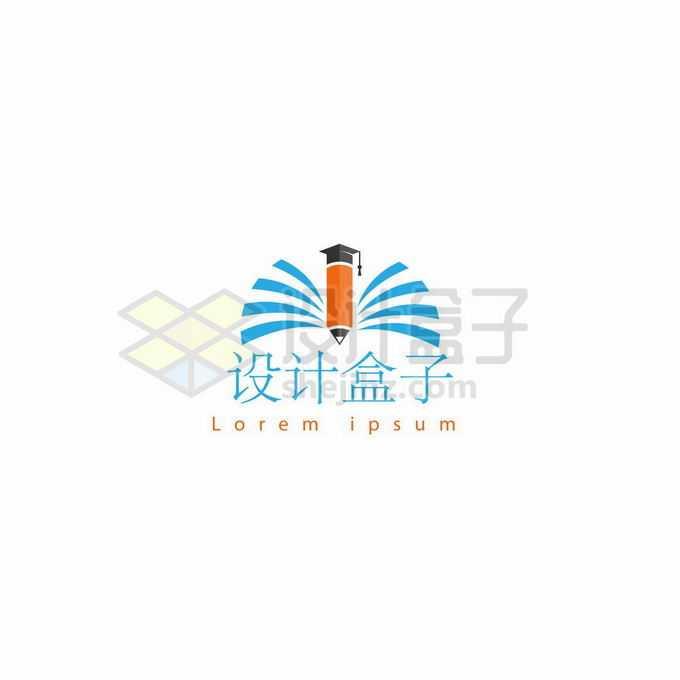 戴着博士帽的铅笔和打开的书本线条创意教育学校logo标志设计3212738矢量图片免抠素材