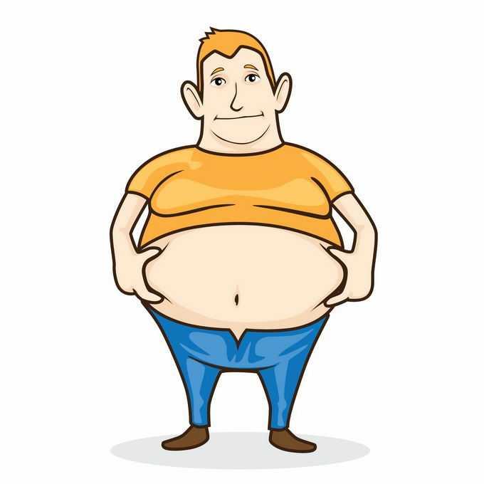 卡通胖子露出自己的大肚子捏一捏肥胖症7510851矢量图片免抠素材免费下载