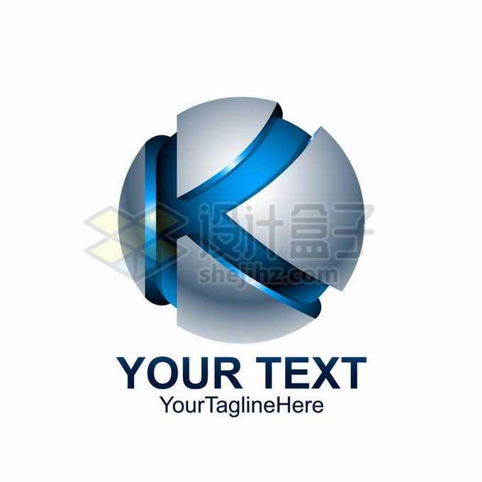 3D立体风格银色圆球上的蓝色大写字母K标志logo设计7940488矢量图片免抠素材