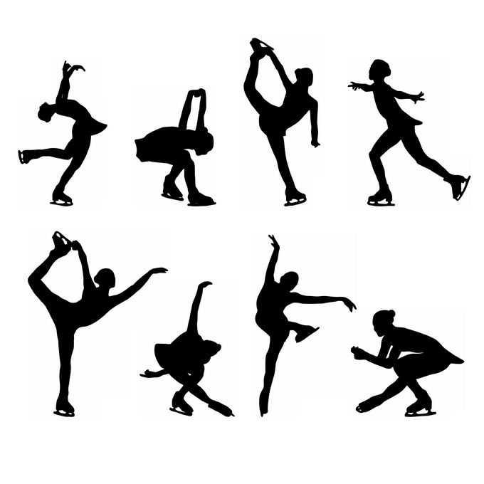 8款女子花样滑冰运动员奥运会人物剪影9852833免抠图片素材