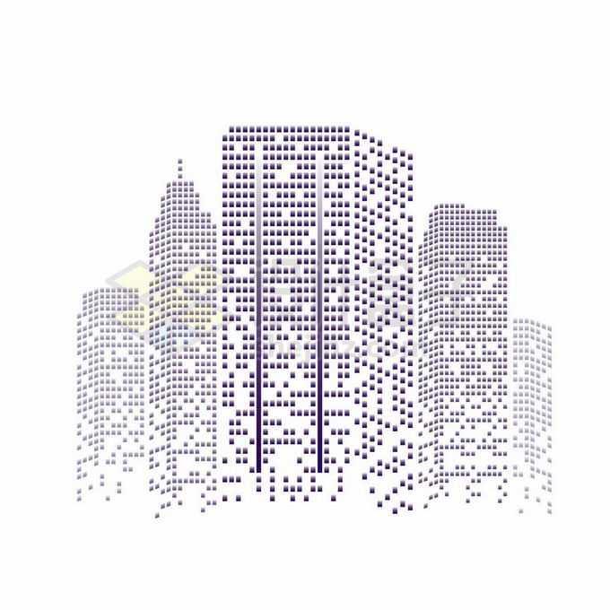 紫色方块组成的城市天际线高楼大厦建筑图案6331234矢量图片免抠素材