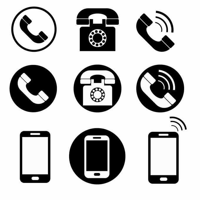 三组黑白色风格的电话和手机图标3885276矢量图片免抠素材免费下载