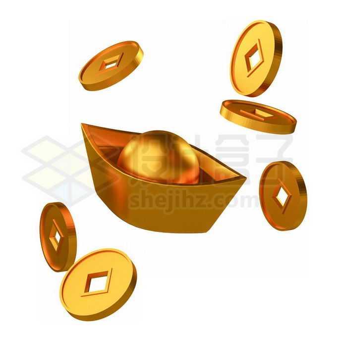 黄金打造的金元宝和中国古代金币9857236免抠图片素材免费下载