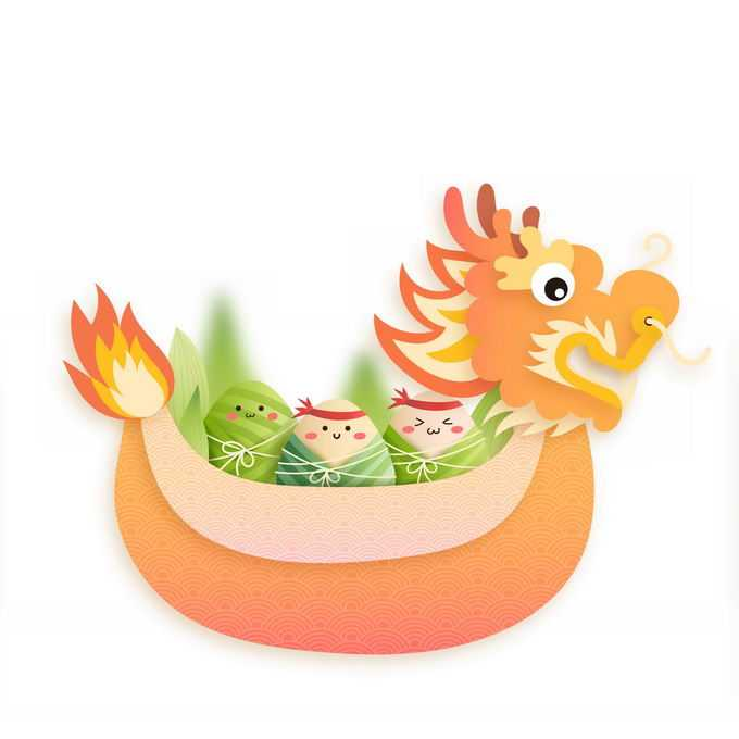 端午节卡通龙舟和卡通粽子美味美食9535567免抠图片素材