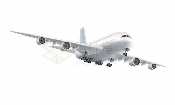 一架正在准备降落的白色大型客机飞机4895512矢量图片免抠素材免费下载