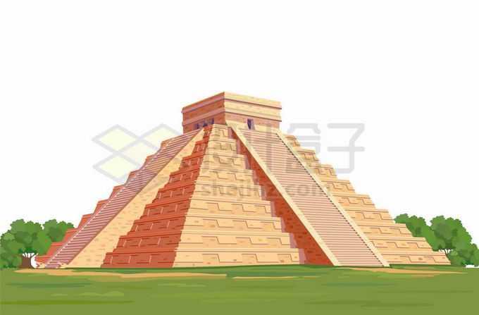 屹立在草地上的墨西哥金字塔太阳金字塔世界知名景点7198545矢量图片免抠素材免费下载
