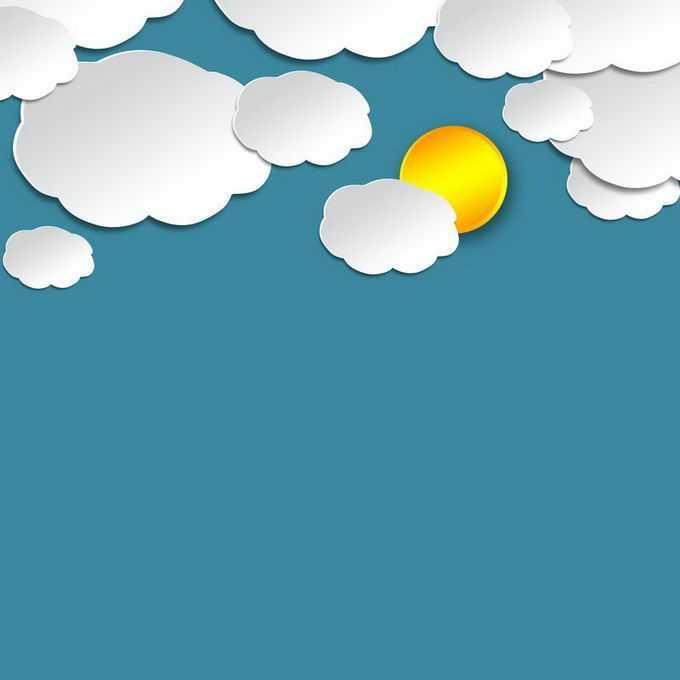 剪纸叠加风格白色云朵太阳多云天气2109087免抠图片素材