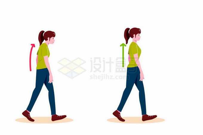 女孩演示错误和正确走路姿势对比图8756934矢量图片免抠素材免费下载
