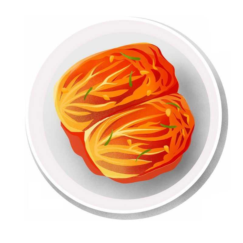 俯视视角盘子中的韩国朝鲜族泡菜传统美食2162290免抠图片素材