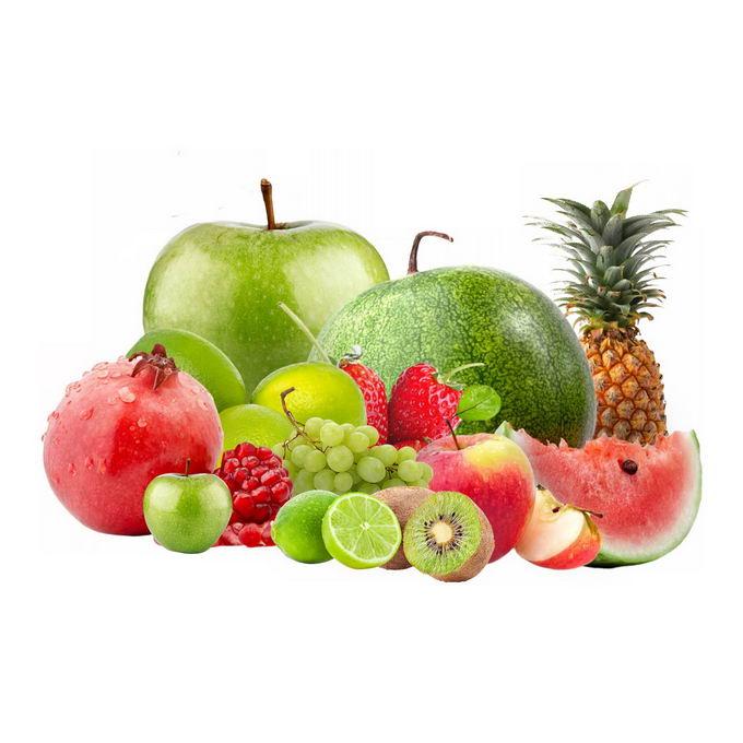 苹果西瓜石榴柠檬猕猴桃西瓜菠萝等水果拼盘8887873免抠图片素材 生活素材-第1张