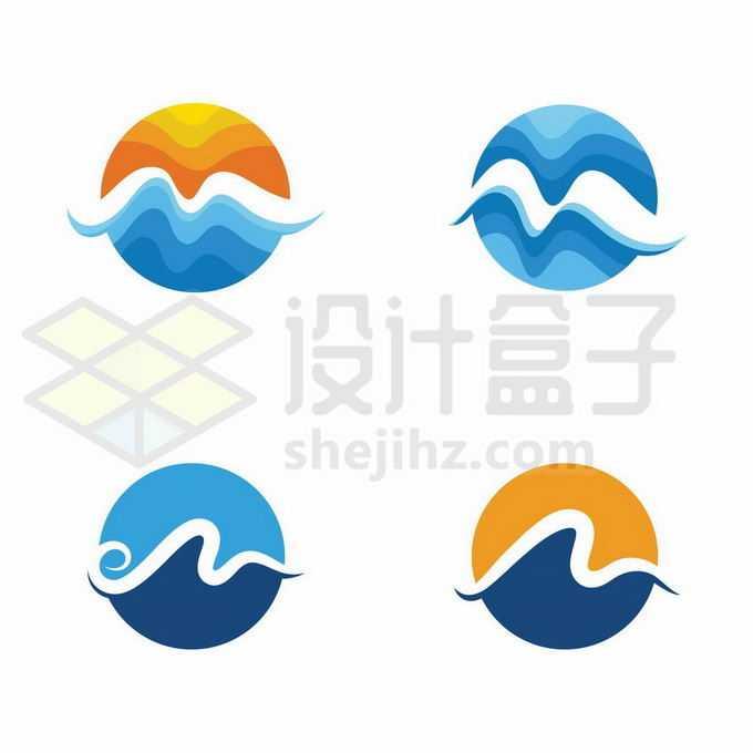 4款日出和海洋抽象创意风格logo设计1558089矢量图片免抠素材