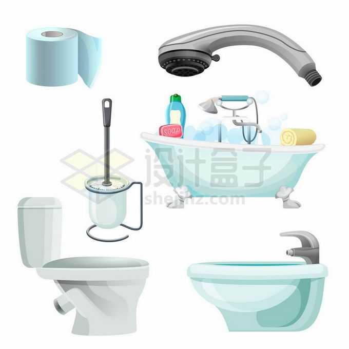 卷纸莲蓬头抽水马桶皮橛子浴缸洗脸池等卫生间用品3516905矢量图片免抠素材