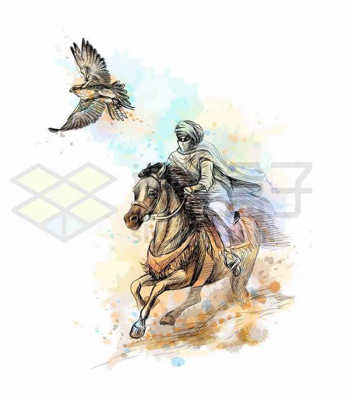 骑马的游牧民族放出了猎鹰写实风格水彩插画6350262矢量图片免抠素材免费下载
