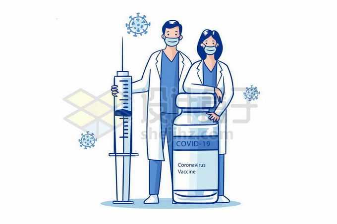 2个卡通医生拿着针筒注射器和新冠疫苗西林瓶5900351矢量图片免抠素材免费下载