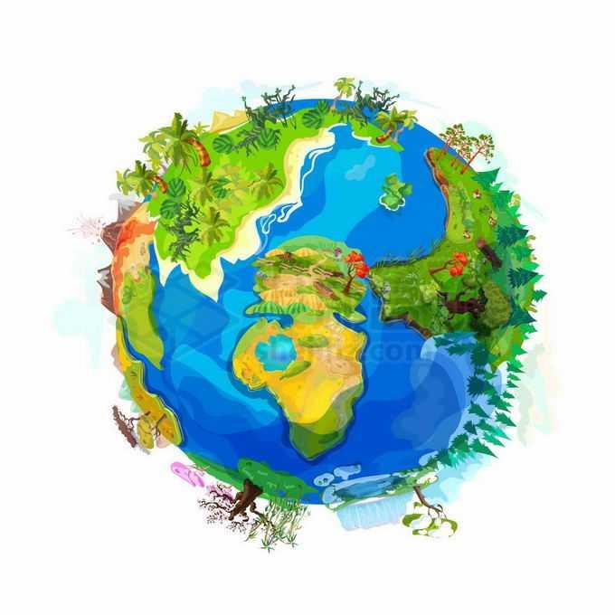 大海小岛青草地草原森林火山等漂亮的卡通地球插画5182610矢量图片免抠素材免费下载