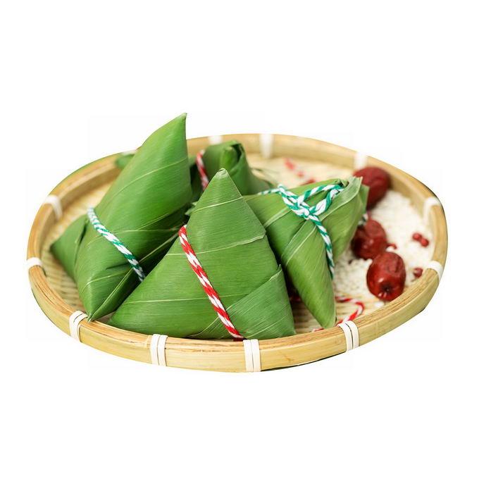 竹盘子里的几个端午节粽子传统美味美食3701451png免抠图片素材 生活素材-第1张