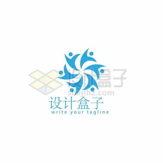 围成一圈的蓝色小人儿创意教育学校logo标志设计8113707矢量图片免抠素材