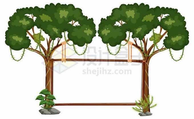 两颗绿色大树组成的木框边框文本框信息框3590262矢量图片免抠素材免费下载