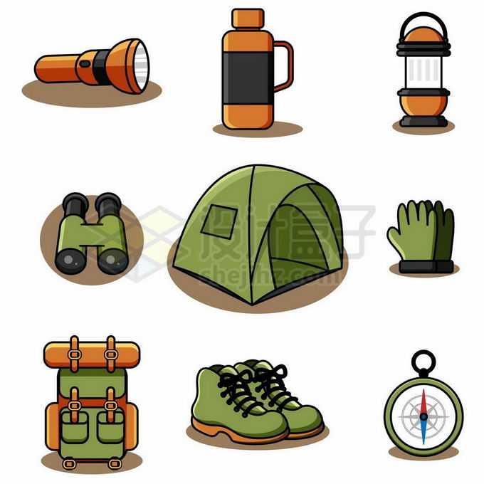 9款MBE风格的户外旅行装备手电筒保温杯望远镜帐篷登山包指南针等8490872矢量图片免抠素材