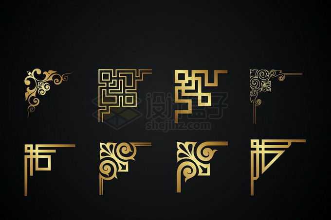 8款金色金属光泽复古直角框架几何形状艺术花纹装饰9613397矢量图片免抠素材免费下载