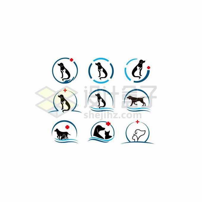 9款猫咪狗狗剪影创意宠物标志logo设计7616214矢量图片免抠素材