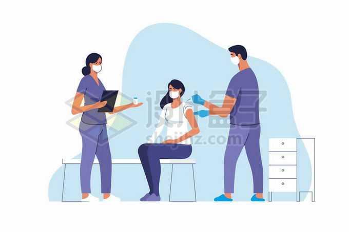 2个医生正在给病人打针注射疫苗手绘插画6072522矢量图片免抠素材免费下载