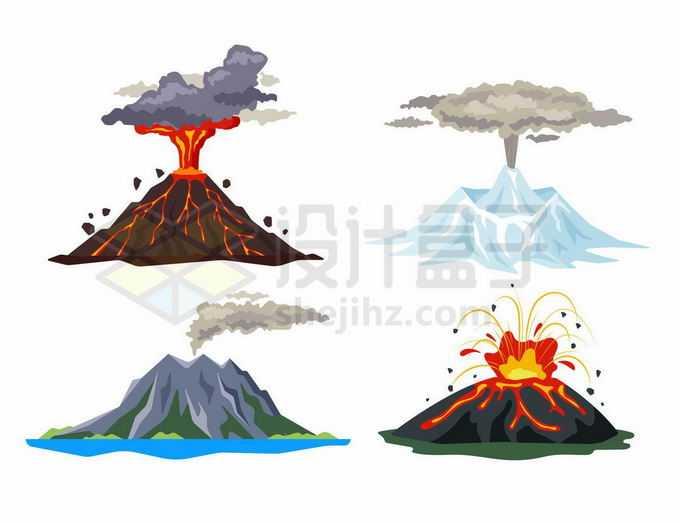 4种喷发中的火山爆发熔岩火山冰火山4077064矢量图片免抠素材