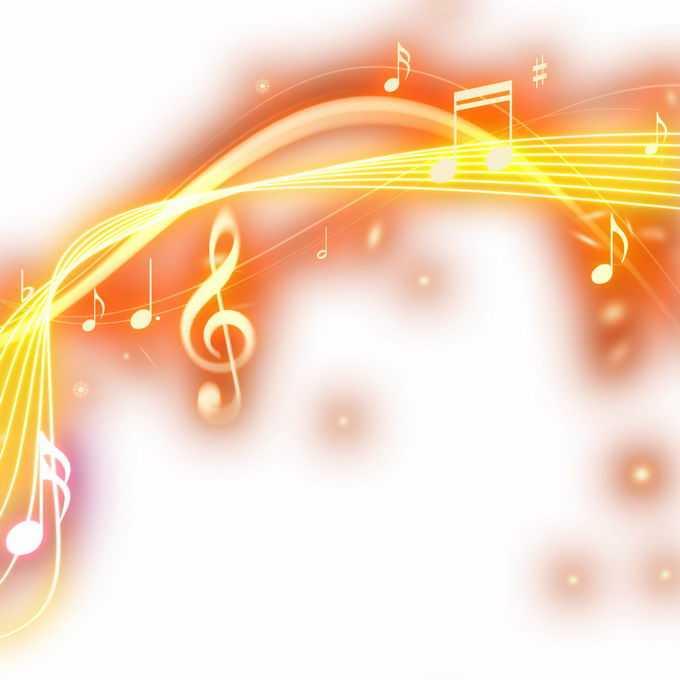 跳动的橙色音乐音符发光绚丽五线谱效果5999782免抠图片素材
