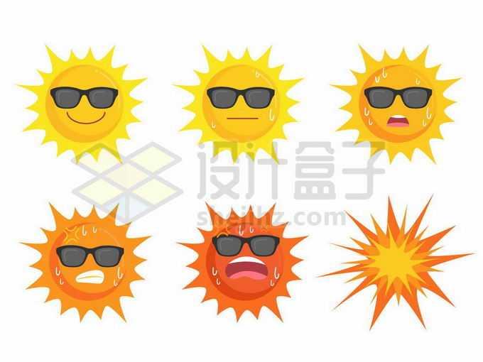 炎炎夏日里6种太阳光照强度流汗爆炸的卡通太阳6610870矢量图片免抠素材免费下载