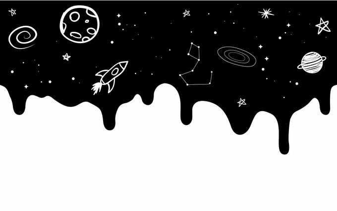 抽象风格黑色的宇宙空间里的手绘涂鸦星球宇宙探索天文插画3990158矢量图片免抠素材免费下载