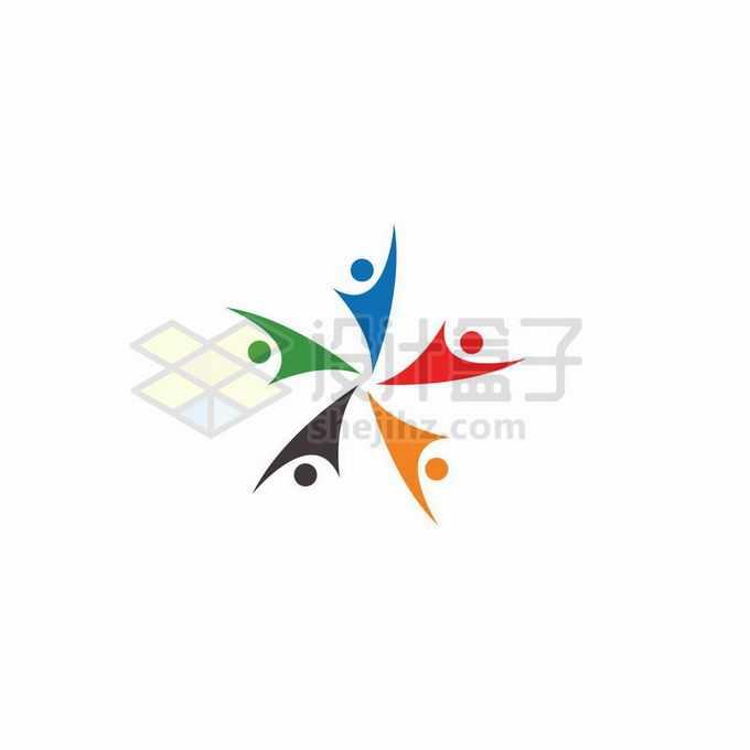 五种颜色小人儿团结创意教育学校logo标志设计3497520矢量图片免抠素材