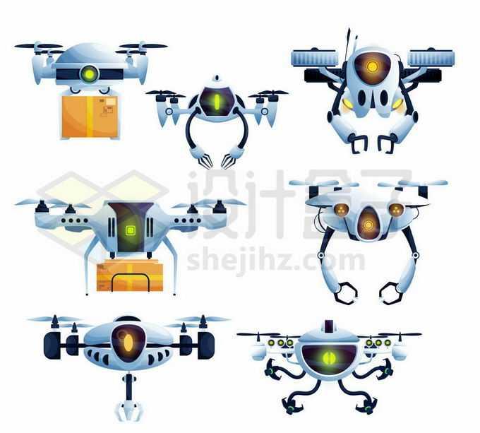 7款卡通无人送货机器人快递无人机4444360矢量图片免抠素材