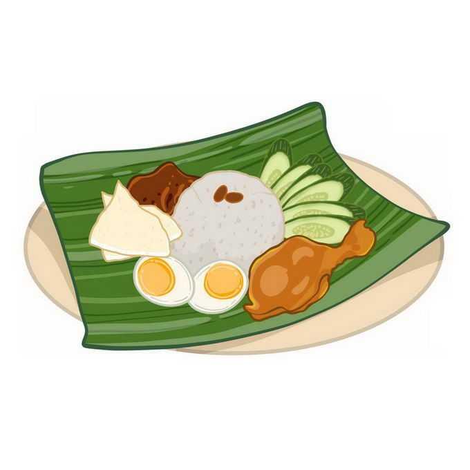 绿色树叶上的椰浆饭米饭鸡腿鸡蛋美味美食东南亚菜1939425免抠图片素材