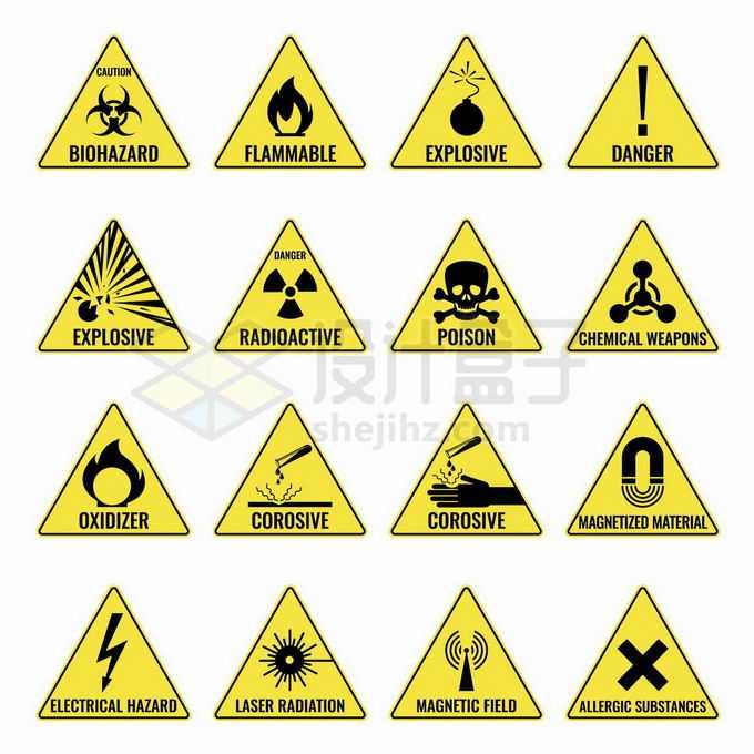 16款小心核污染火灾危险化学污染等黄色三角形警示标志3613317矢量图片免抠素材