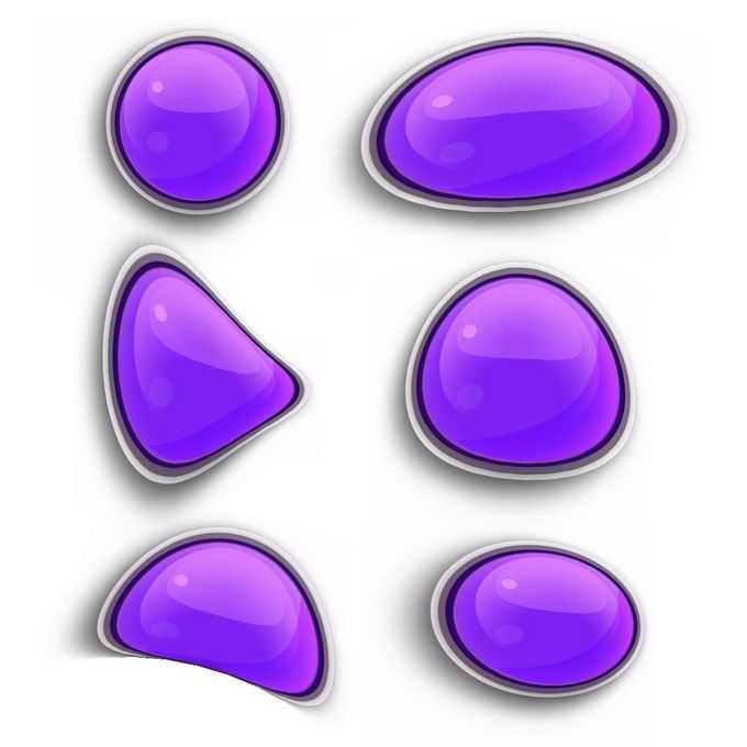 6款不规则形状的紫色按钮卡通水晶按钮8314330免抠图片素材免费下载