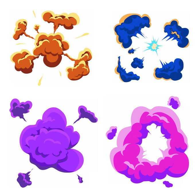 4种卡通漫画风格的彩色爆炸效果9722771矢量图片免抠素材