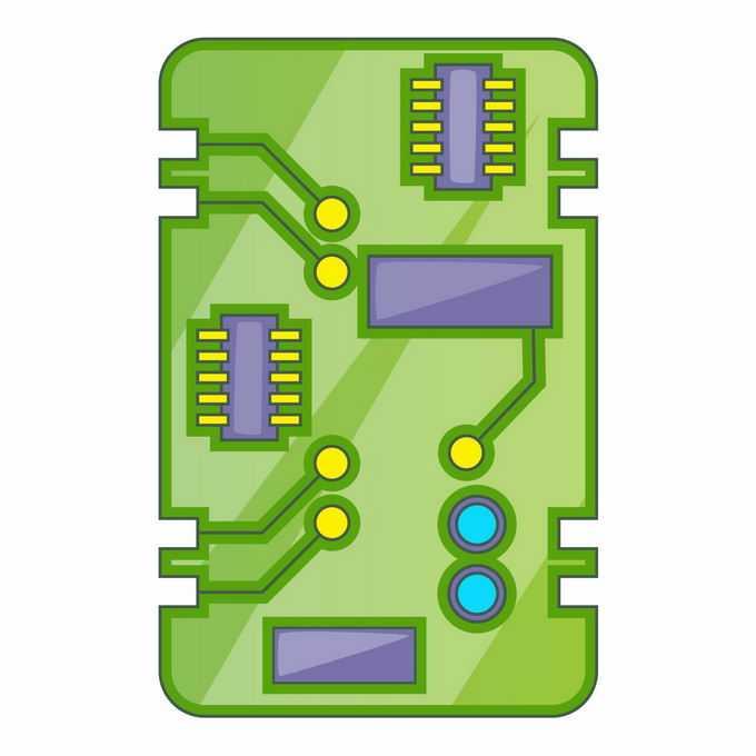 一块绿色的卡通电路板电脑主板6270085矢量图片免抠素材免费下载