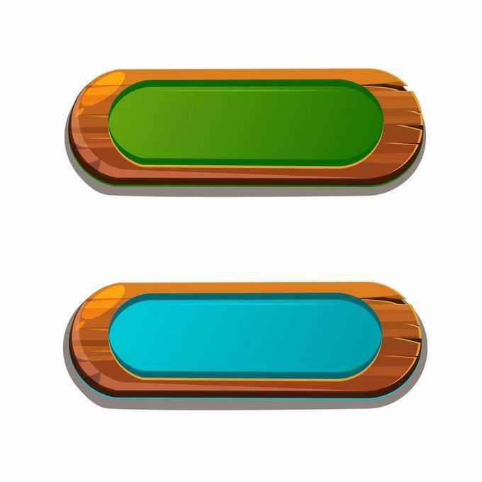蓝色和红色复古木板描边风格的游戏水晶按钮6931210矢量图片免抠素材免费下载