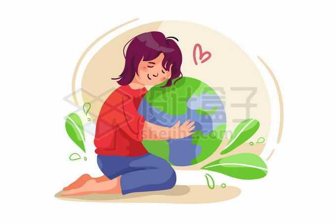 卡通女孩抱着地球保护地球手绘插画4219309矢量图片免抠素材免费下载